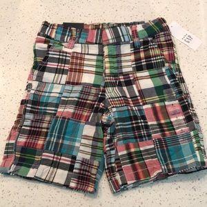 NWT Gap Plaid Patchwork Shorts w Adjustable Waist